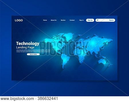 World Map Network Technology Landing Page With World Map, Interface, Vector, Illustration, Eps 10 Fi
