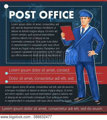 Postman. A Middle-aged Young Man In A Blue Suit And Tie. Banner For The Post Office. Full Height. St