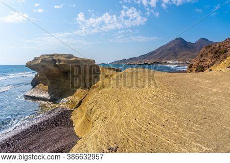 The Wonderful Corner Of Playa Los Escullos In The Natural Park Of Cabo De Gata, Nijar, Andalucia. Sp