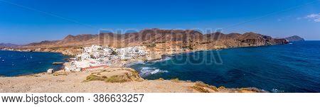 Panoramic Of The Coast Of The Isleta Del Moro In The Natural Park Of Cabo De Gata, Nijar, Andalucia.