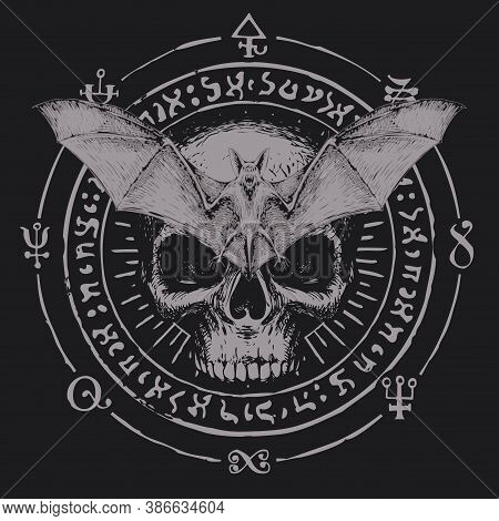 Hand-drawn Scary Bat With Open Wings And Human Skull On A Background Of Magic Symbols Written In A C