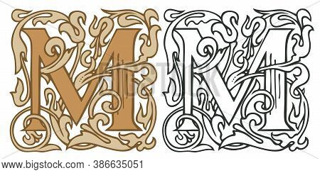 Initial Letter M With Vintage Baroque Decorations. Two Vector Uppercase Letters M In Beige And Black