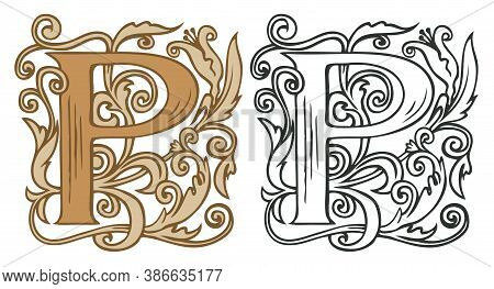 Initial Letter P With Vintage Baroque Decorations. Two Vector Uppercase Letters P In Beige And Black