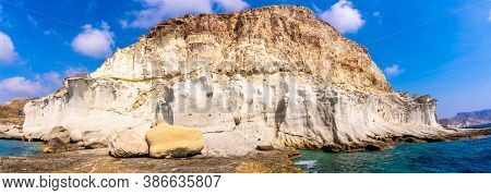 Panoramic View Of Cala De Enmedio And Its Beautiful White Rock Walls In The Natural Park Of Cabo De