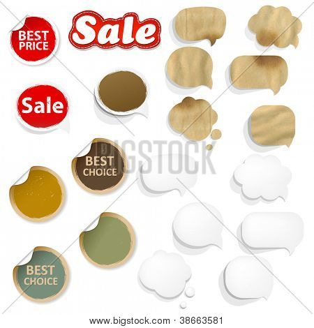 Big Set Cardboard Structure With Paper Speech Bubbles, Vector Illustration