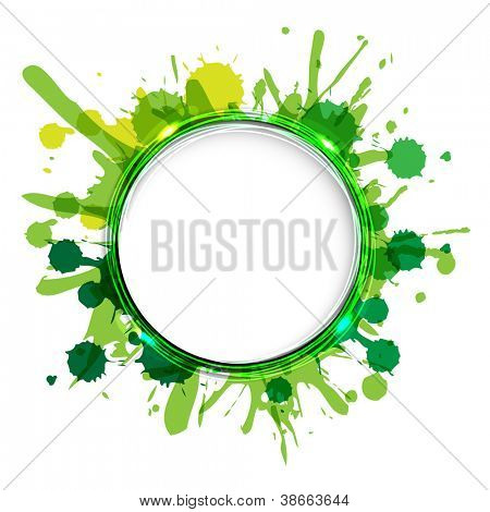 Dialog Balloons With Green Blobs, Vector Illustration