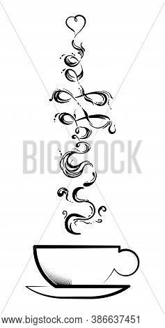 Line Sketch Hand Written Coffee Cup In Beautiful Style Isolated On White Backgroundvector Illustrati
