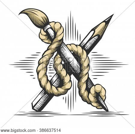 Creative Art concept. Heraldic emblem of pencil, brush artist drawing tools binded with rope on star of strokes. Symbol graphics art design. Hand drawn isolated on white background. 3D illustration.