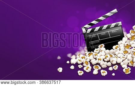 Cinematograpy producer clapperboard in popcorn. Online movies banner template poster concept, copyspace. Clapper in snacks movie theater. Fast food for cinematography entertainment. 3D illustration.