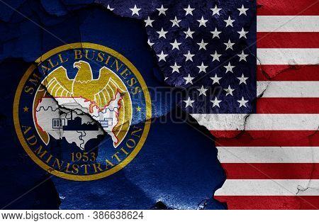 Flags Of  U.s. Small Business Administration And Usa Painted On Cracked Wall