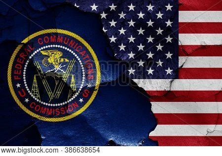 Flags Of Federal Communications Commission And Usa Painted On Cracked Wall