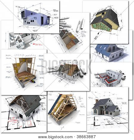 Collage of construction and architecture renderings