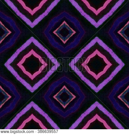 Tunisian Texture. Tie Dye Geometric Textile Design. Hand Drawn Vintage Carpet. Arabic Style. Blue An
