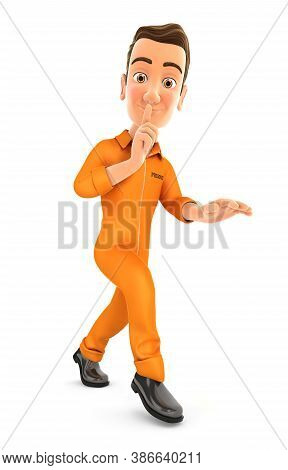 3d Prisoner Walking On Tiptoe, Illustration With Isolated White Background