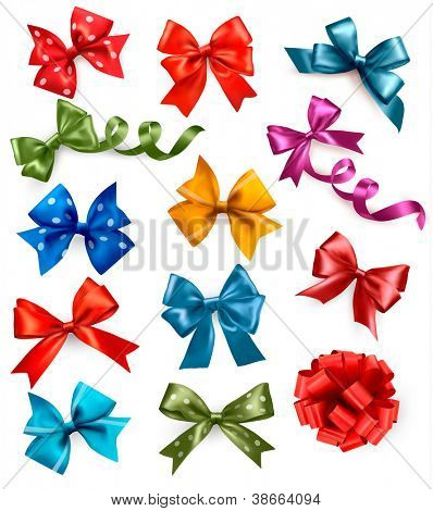 Big set of colorful gift bows with ribbons. Vector illustration.