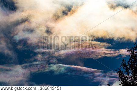 View Of Pearl Polar Stratospheric Clouds In The Sky