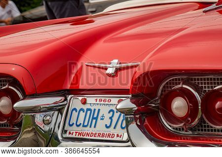 Toronto, Canada - 08 18 2018: Thunderbird Logo With Tail Lights, Chrome Bumper And Side Decorations