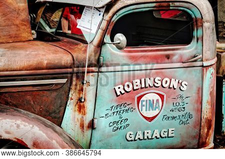 Toronto, Canada - 08 18 2018: Cabin Of The Oldtimer Car - 1939 Chevrolet Pikup Truck, Owned By R. Ro