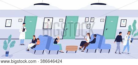 Patients Sit On Couch At Waiting Area Of Medical Center Vector Flat Illustration. People Of Differen