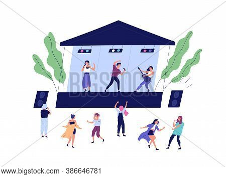Musical Band Performing On Stage During Open Air Concert Vector Flat Illustration. Happy Audience Da