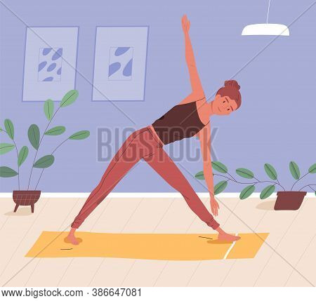 Woman Doing Yoga On Mat At Home Vector Flat Illustration. Sportswoman Practicing Domestic Workout. F