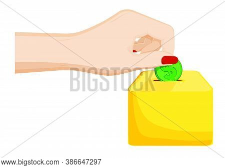 Female Hand Puts A Coin With Dollar Sign In Piggy Bank. Cash Storage. Return Of Debt To The Bank. Ca