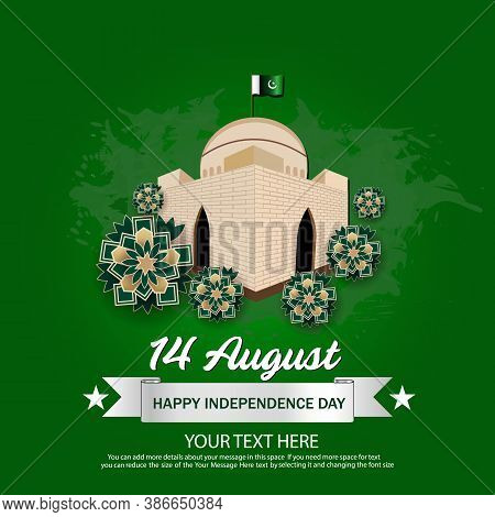 14th August Pakistan Independence Day With The Tomb Of National Hero And National Flag On The Green