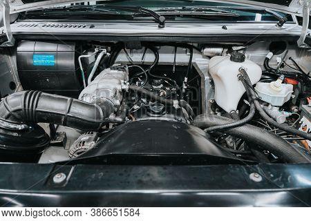 Novosibirsk, Russia - September 19, 2020: Uaz Patriot, Close Up Of A Clean Motor Block. Internal Com