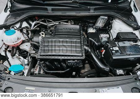 Novosibirsk, Russia - September 19, 2020: Scoda Rapid, Close Up Of A Clean Motor Block. Internal Com