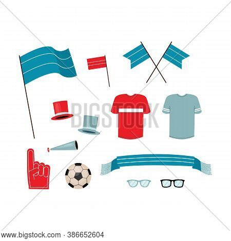 An Attributes For Football Fans Set Isolated Vector Illustrations.