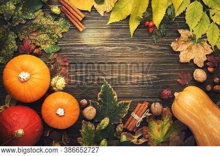 Autumn Food Top View, Thanksgiving Or Halloween Background: Pumpkins, Nuts, Fallen Leaves And Spices