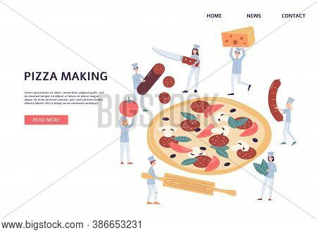 Web Banner For Pizzeria Wit Tiny Chiefs Making Pizza, Flat Vector Illustration.