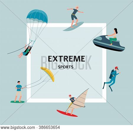 Extreme Sports Banner With People Fond Of Sport Flat Vector Illustration.