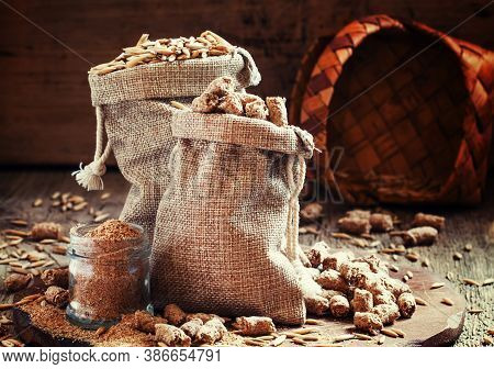 Healthy Eating Concept: Oat Bran, Oat Grain, Ground Oats, Vintage Wooden Background, Selective Focus