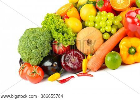 Big collection wholesome fruits and vegetables isolated on white background.