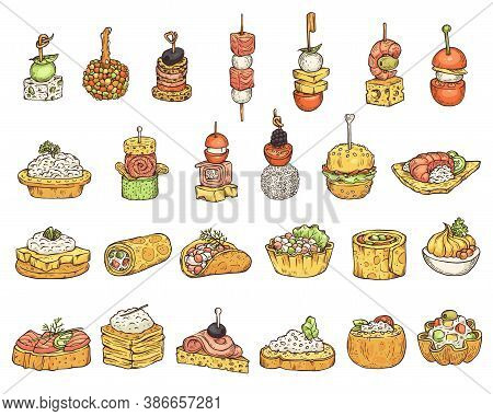 Set Of Snacks Or Appetizers Cartoon Icons Sketch Vector Illustration Isolated.