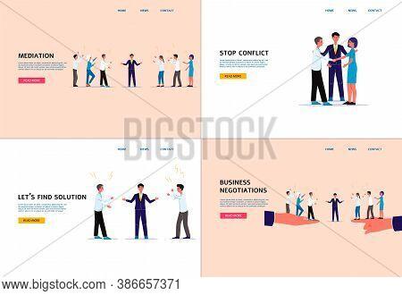 Conflict Mediation And Business Negotiation Website Banner Set