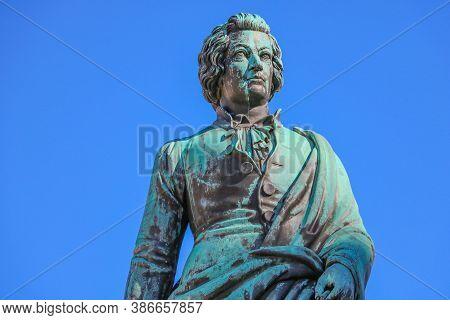 Salzburg, Austria - September 16, 2019: Mozart Statue - Salzburg City In Austria, Europe