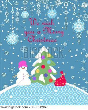 Xmas blue childish greeting craft card with paper cutting Christmas tree, funny snowman, gift, snowflakes and hanging decoration