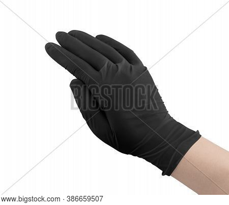 Medical Gloves.two Black Surgical Gloves Isolated On White Background With Hands. Rubber Glove Manuf