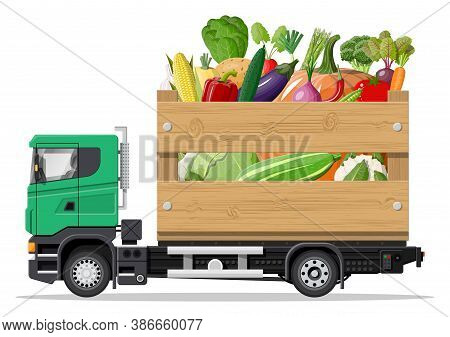 Truck Car Full Of Vegetables Products. Shop And Farm Delivering Service, Fresh Veggies. Delivery And