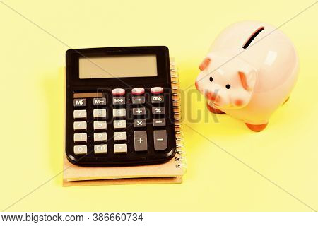 Money Saving. Accounting And Payroll. Bookkeeping. Financial Report. Moneybox With Calculator. Piggy