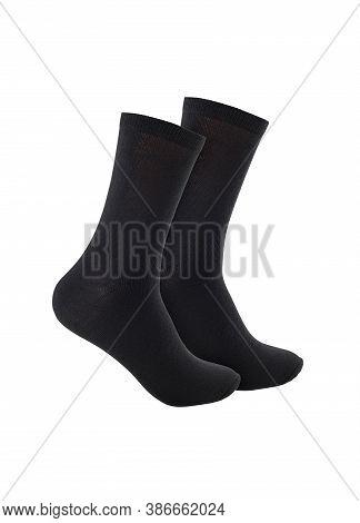 Black Color Socks Isolated On White Background. Three Short Socks. Set Of Black Socks For Sports On