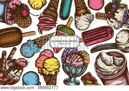 Colored Elements Design With Ice Cream Bowls, Ice Cream Bucket, Popsicle Ice Cream, Ice Cream Balls