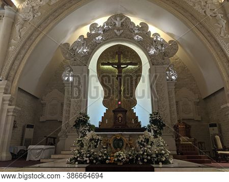 Denpasar, Indonesia - September 28, 2019: The Interior Of Holy Spirit Cathedral (katedral Roh Kudus)