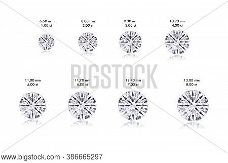 Round Diamond Size Guide From 1.00 Carat To 8.00 Carat Approximation