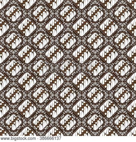 Cute Motifs On Parang Batik Design With Simple White Brown Color Concept.
