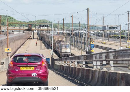 Channel Tunnel, England -june 4, 2017: Cars About To Board The High Speed Eurostar Trains For The Ch
