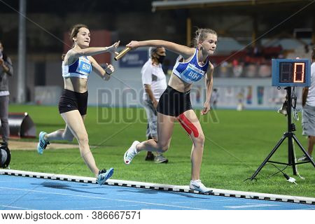 Istanbul, Turkey - September 13, 2020: Athletes Running 4x400 Metres Relay During Balkan U20 Athleti
