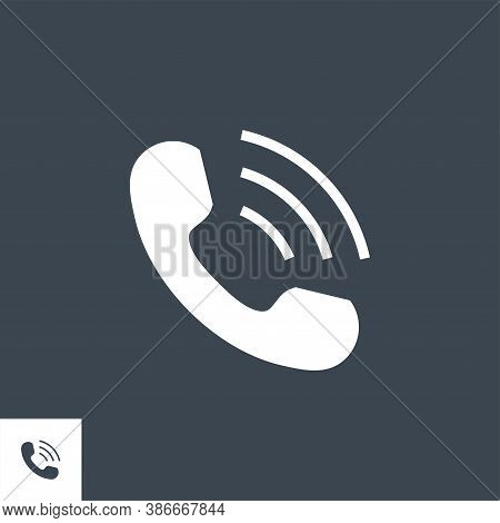 Handset Related Vector Glyph Icon. Isolated On Black Background. Vector Illustration.